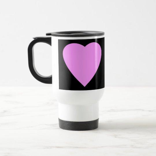 Pretty Pink and Black Love Heart. Travel Mug