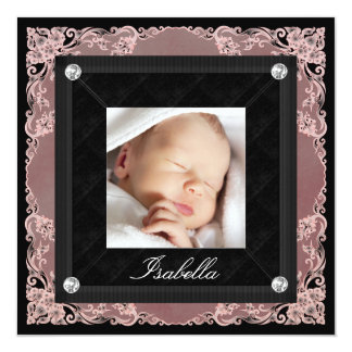Pretty Pink and Black Photo Birth Announcements