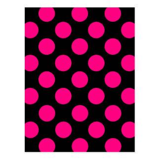 Pretty Pink and Black Polka Dots Pattern Postcard