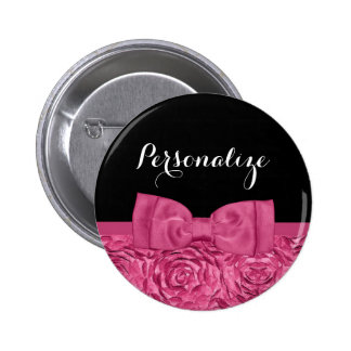 Pretty Pink and Black Rose Floral Chic Bow Button