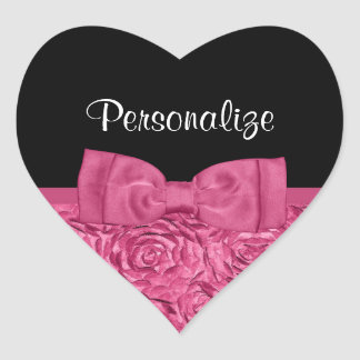 Pretty Pink and Black Rose Floral Chic Bow Heart Sticker