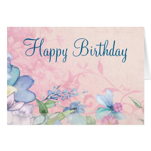 pretty pink and blue floral background birthday card zazzle