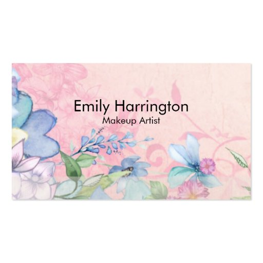 pretty pink and blue floral background business card zazzle