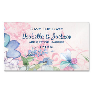 Pretty Pink and Blue Floral Save The Date Magnetic Business Card