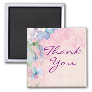Pretty Pink and Blue Floral Thank You Magnet