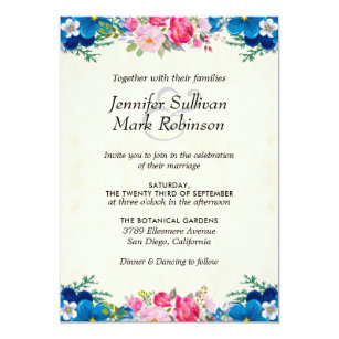 Blue Flower Border Wedding Invitations Zazzle