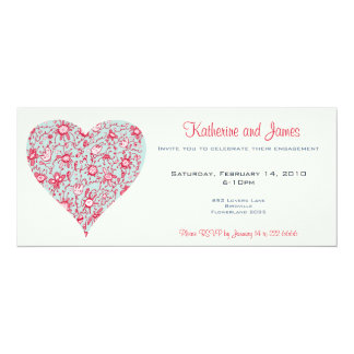 Pretty Pink and Blue Love Flower Heart Invitation