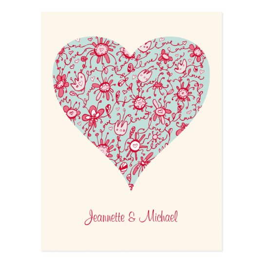 Pretty Pink and Blue Love Flower Heart Postcard