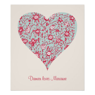 Pretty Pink and Blue Love Flower Heart Poster