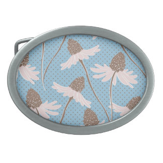 Pretty Pink and Brown Floral Pattern on Blue Oval Belt Buckles