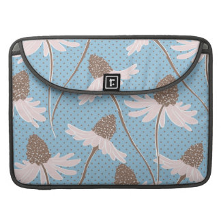 Pretty Pink and Brown Floral Pattern on Blue Sleeve For MacBooks