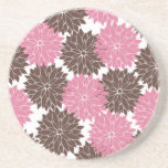 Pretty Pink and Brown Flower Blossoms Floral Print Drink Coaster