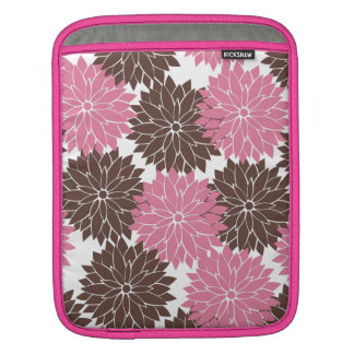 Pretty Pink and Brown Flower Blossoms Floral Print Sleeves For iPads