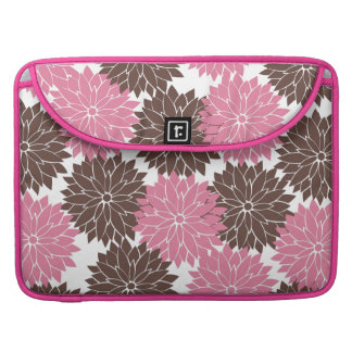 Pretty Pink and Brown Flower Blossoms Floral Print Sleeve For MacBooks