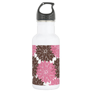 Pretty Pink and Brown Flower Blossoms Floral Print Water Bottle