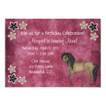 Pretty Pink and Brown Horse and Flowers Birthday 5x7 Paper Invitation Card