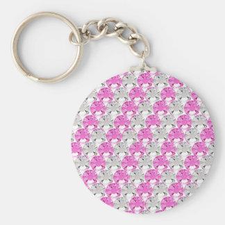 Pretty Pink and Clear Rhinestone Stripe Design Keychain