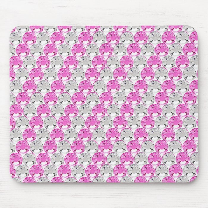 Pretty Pink and Clear Rhinestone Stripe Design Mouse Pad