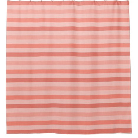 Pretty Pink and Coral Stripes Pattern Shower Curtain