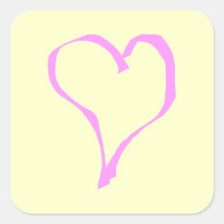 Pretty Pink and Cream Love Heart. Square Sticker