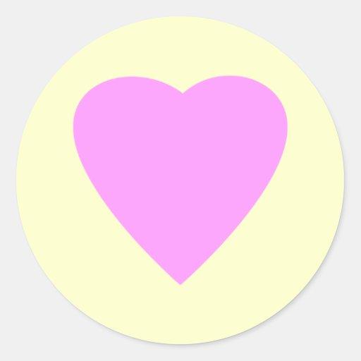 Pretty Pink and Cream Love Heart. Classic Round Sticker