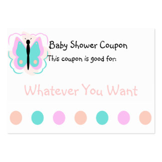 Pretty Pink And Cyan Butterfly Coupon Business Card