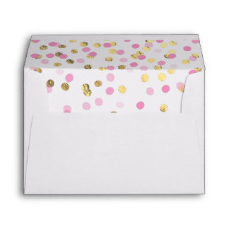 Pretty Pink and Gold Confetti Envelope