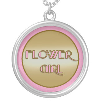 Pretty Pink and Gold Flower Girl Necklace