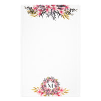Pretty Pink and Gold Magnolia Floral and Monogram Stationery