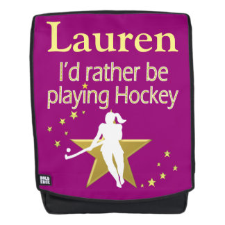 PRETTY PINK AND GOLD PERSONALIZED FIELD HOCKEY BACKPACK