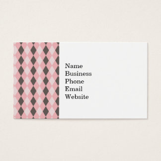 Pretty Pink and Gray Argyle Diamond Pattern Gifts Business Card