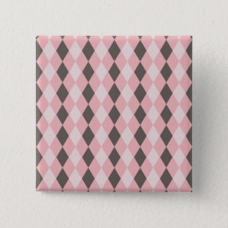 Pretty Pink and Gray Argyle Diamond Pattern Gifts Button