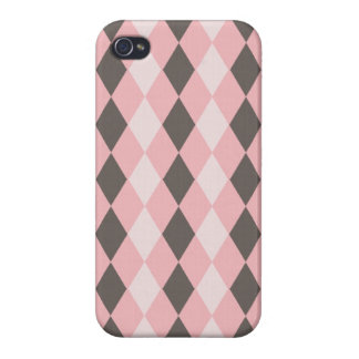 Pretty Pink and Gray Argyle Diamond Pattern Gifts iPhone 4/4S Case
