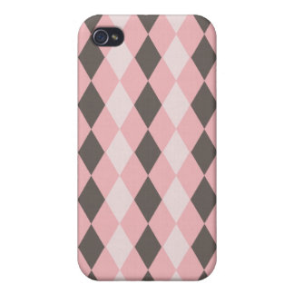 Pretty Pink and Gray Argyle Diamond Pattern Gifts iPhone 4 Case