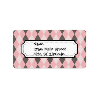 Pretty Pink and Gray Argyle Diamond Pattern Gifts Label