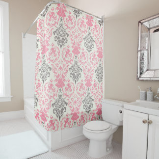 Pretty Pink and Gray Two-Tone Damask Shower Curtain