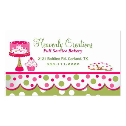 Pretty Pink and Green Bakery Business Card