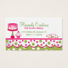 Pretty Pink And Green Bakery Business Card at Zazzle