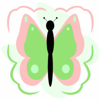 Pretty Pink And Green Butterfly Ornament