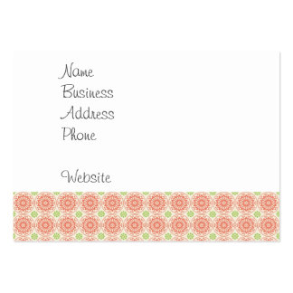 Pretty Pink and Green Circle Mandala Pattern Large Business Cards (Pack Of 100)