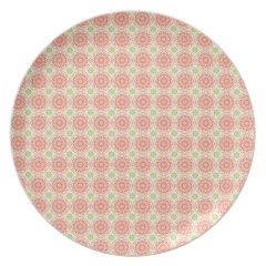 Pretty Pink and Green Circle Mandala Pattern Plates
