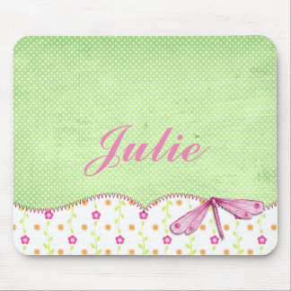 Pretty Pink and Green Floral with Dragonfly Mouse Pad
