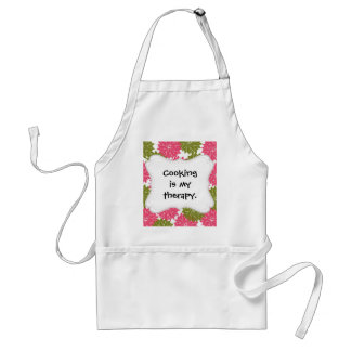 Pretty Pink and Green Flower Blossoms Floral Print Adult Apron