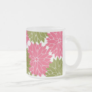 Pretty Pink and Green Flower Blossoms Floral Print Frosted Glass Coffee Mug