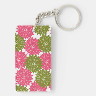 Pretty Pink and Green Flower Blossoms Floral Print Rectangle Acrylic Keychains