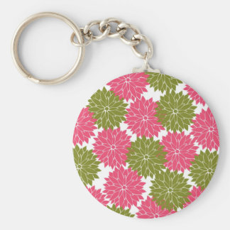 Pretty Pink and Green Flower Blossoms Floral Print Keychain