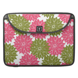 Pretty Pink and Green Flower Blossoms Floral Print MacBook Pro Sleeve