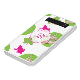 Pretty Pink and green frog and ivy illustration Power Bank