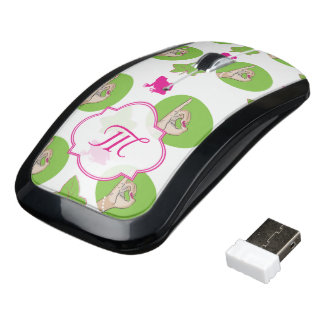 Pretty Pink and green frog and ivy illustration Wireless Mouse