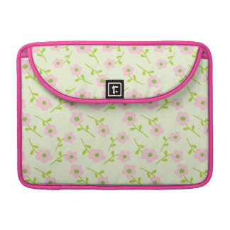Pretty pink and green girly floral sleeve for MacBook pro